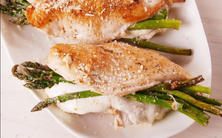 Asparagus and cheese stuffed chicken breast