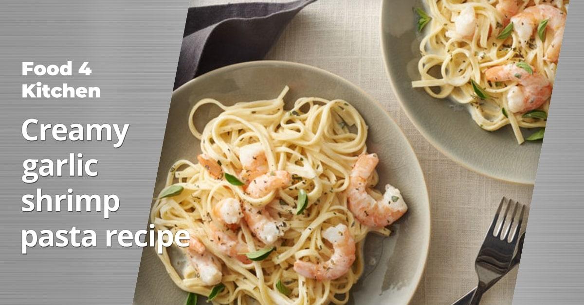 Creamy garlic shrimp pasta recipe - Food 4 Kitchen