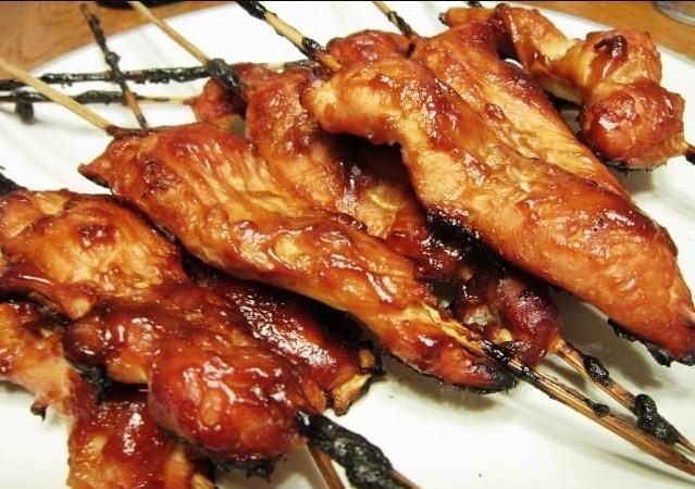 Chicken teriyaki on sticks is an easy dish to make
