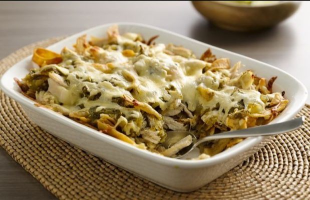 Chicken with chilaquiles casserole