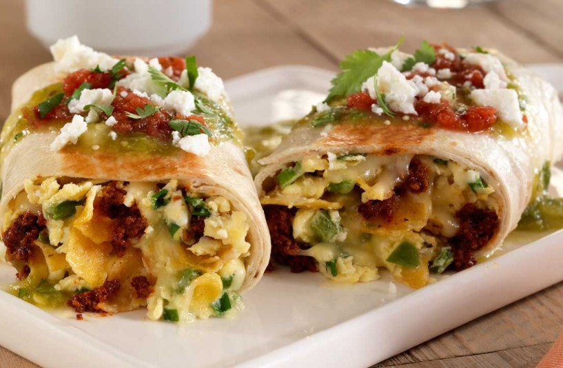 Chilaquiles burrito is a traditional Mexican cake