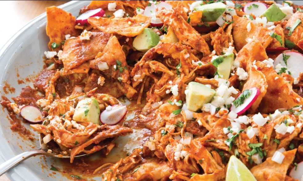 Chilaquiles with chicken is a delicious dish from Mexico