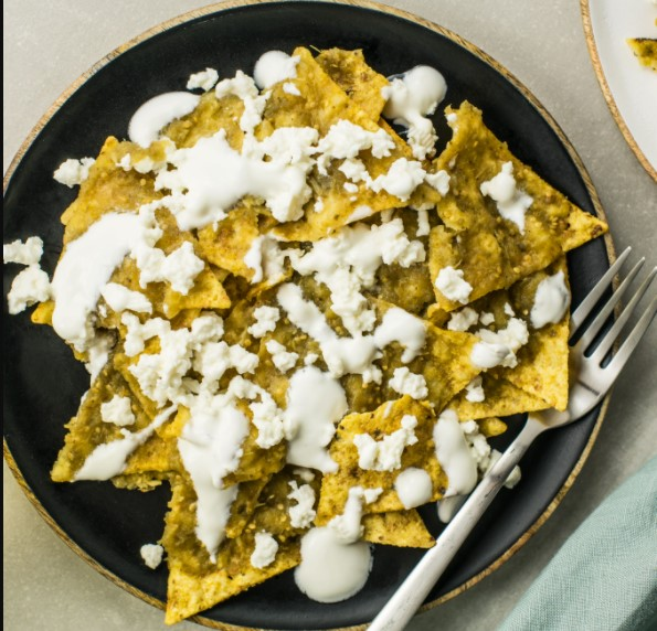 Chilaquiles with tortilla chips is delicious food