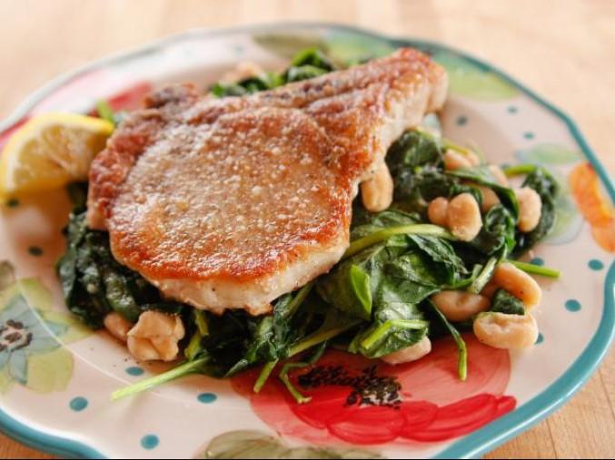 Fried Pork chop & Sauteed spinach