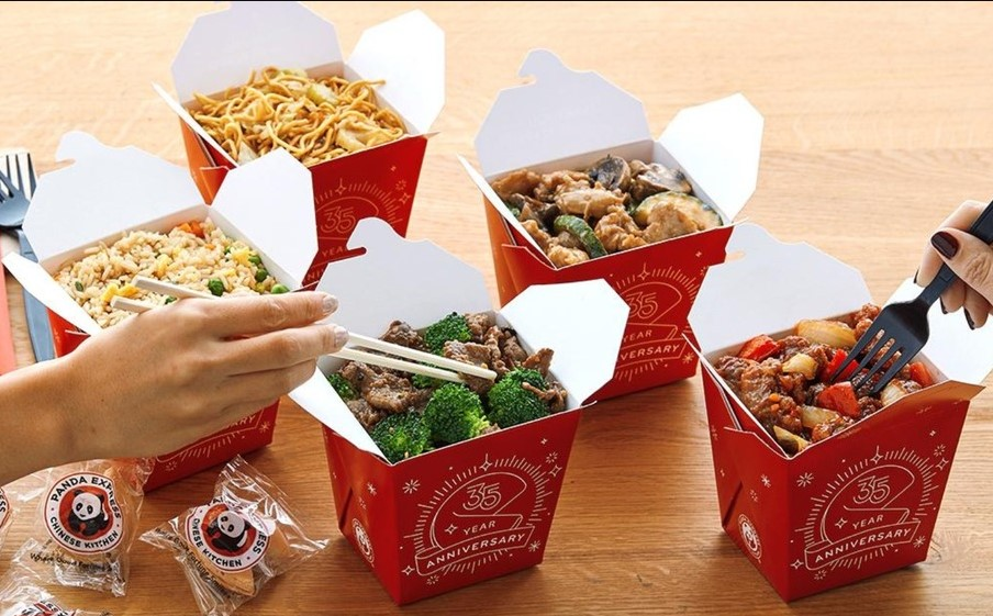 Fried rice and fried noodles at panda express
