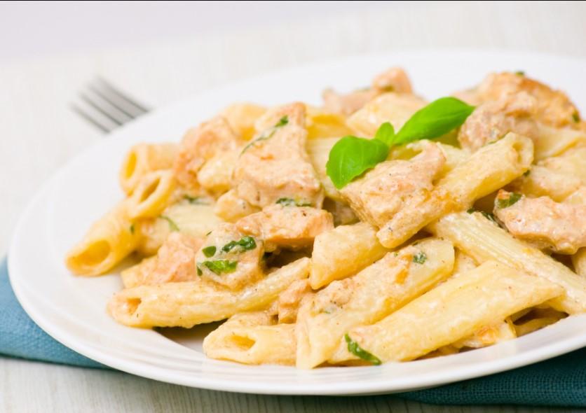 Ingredients for creamy garlic chicken penne pasta