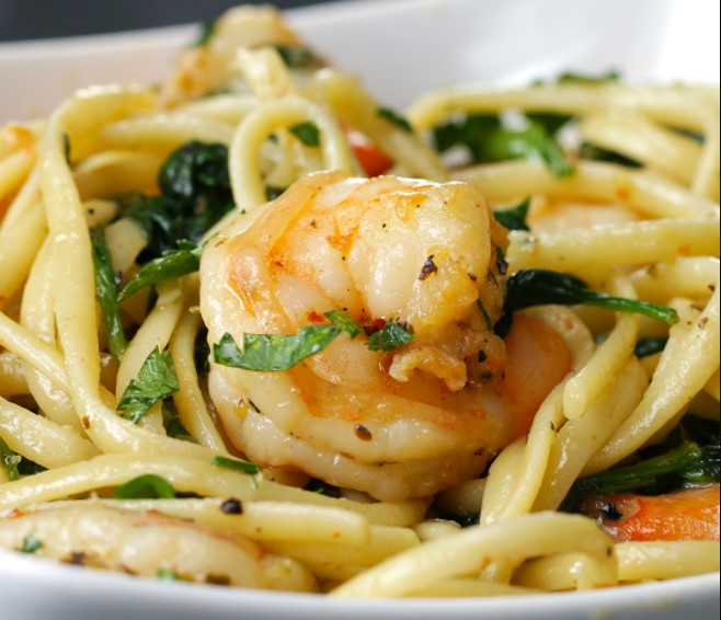 Lemon garlic pasta with shrimp