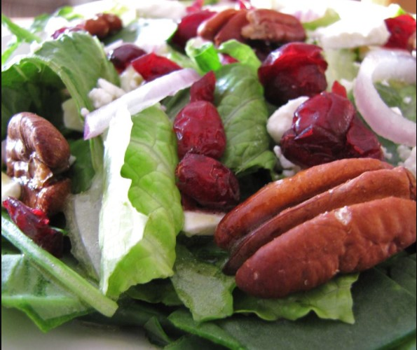 Pork chop & Cranberry Pecan Salad