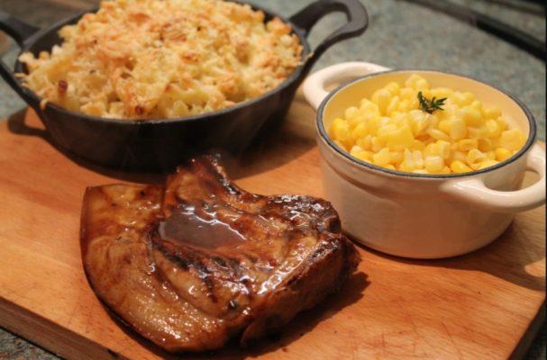 Pork chop & Mac and Cheese