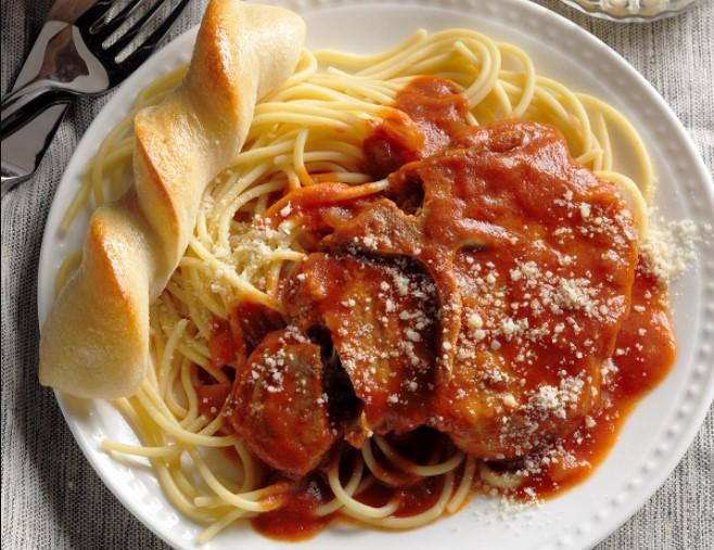Pork chop & Spaghetti with Meatballs