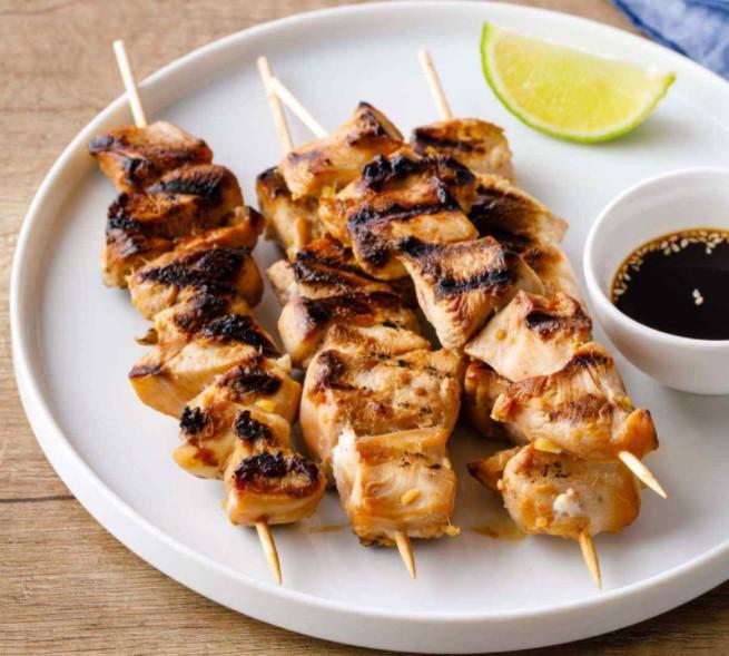 Put the chicken teriyaki on sticks on the plate