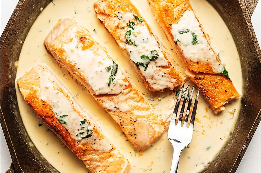 Tear each piece of fish fillet