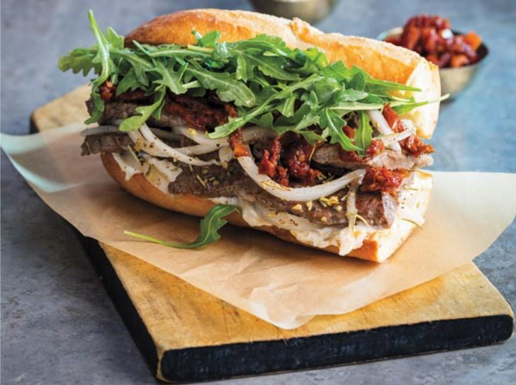 air fryer rib eye steak sandwich with balsamic vinegar and jalapeño peppers