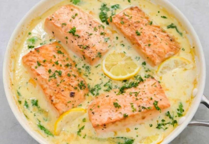 Serve creamy garlic butter salmon