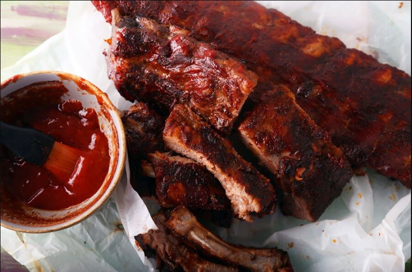 The sauce of ribs in barbecue
