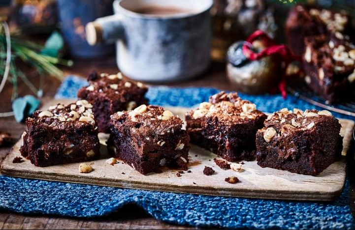 Crunchy nutty chocolate brownie