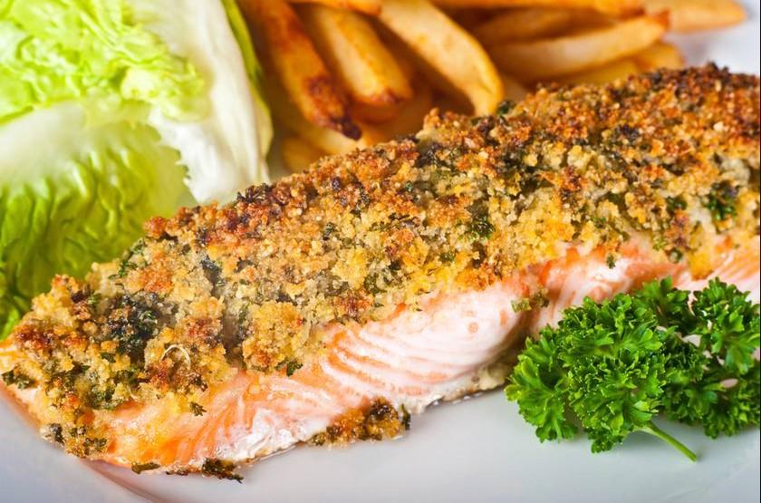Mediterranean herb-crusted fish